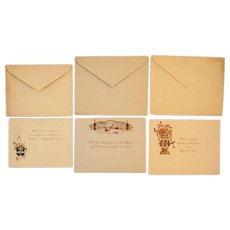 Three Unused Circa 1900s Christmas Greeting Cards and Envelopes