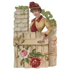 Large Victorian Die Cut Trade Card for Philadelphia Shoe Store  Lady at Garden Gate with Pink Roses
