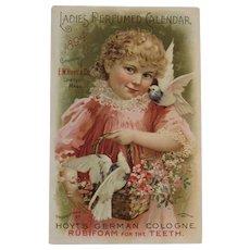 1894 Ladies Perfumed Calendar Hoyt's German Cologne Rubifoam for the Teeth Victorian Advertising Trade Card