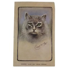 Artist Signed Blue and Cream Persian Cat Postcard