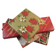 4 Christmas Gift Boxes Tie Box and Square Bells Holly Poinsettias Wreaths Rocking Horses