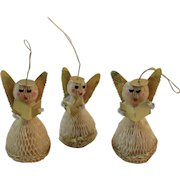 3 Honeycomb Angel Caroler Christmas Ornaments with Foil and Chenille