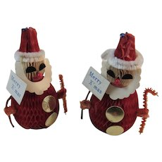 2 Honeycomb Santa Claus Christmas Figurines with Merry X'mas Signs