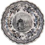 1830 Philadelphia Water Works Jacksons Warranted Black Staffordshire Historical American Views Plate Transferware Transfer Ware