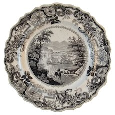1820s Black Clews Staffordshire Historical Plate Picturesque Views of the Hudson River American Themes Transferware Transfer Ware