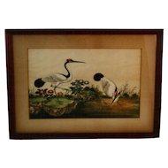 Japanese Crane Watercolor on Silk