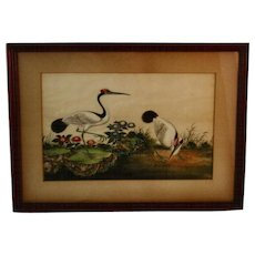 Japanese Crane Watercolor on Silk