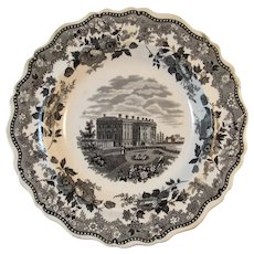 1830s The President's House Jacksons Warranted Black Staffordshire Historical American Views Soup Plate Bowl Transferware Transfer Ware