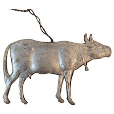 Dresden Cow Ornament Embossed Silver Foil on Pressed Cardboard for Feather Tree