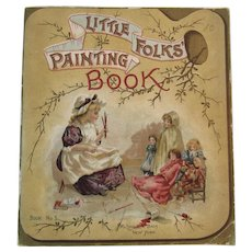 1897 McLoughlin Bros Little Folks Painting Book Unused with Chromolithograph Illustrations