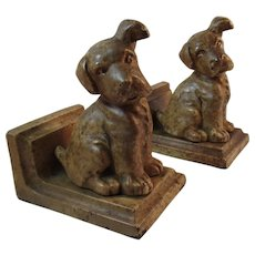 Littco Puppy Dog Cast Iron Bookends Book Ends Littlestown Foundry with Original Paint and Labels