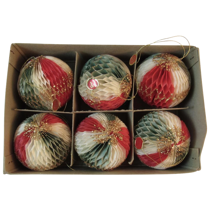 Red Christmas Ornaments.Bea West Honeycomb Christmas Ornaments Tricolor Ball Red Green And White With Gold Glitter In Original Box Flame Proof Vintage Japan 1950s