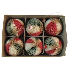 Bea West Honeycomb Christmas Ornaments Tricolor Ball Red Green and White with Gold Glitter in Original Box Flame Proof Vintage Japan 1950s