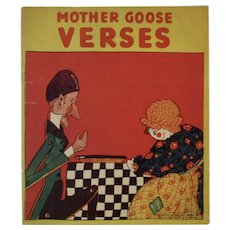 1929 Mother Goose Verses Children's Linen Book Saalfield Pub Co Art Deco Color Illustrations