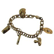 Charm Bracelet with Perfume Bottle Charms Gold Tone