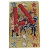 1910 4th of July Postcard Embossed Children and Firecrackers Series No 4 Red White and Blue Stars for the Fourth