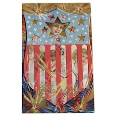 1911 4th of July Postcard Embossed Children and Firecrackers Series No 4 Red White and Blue American Flag Shield and Gold Stars for the Fourth