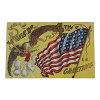 July 4th Greeting Postcard Embossed Eagle US Flag Firecracker and Glitter for the Fourth