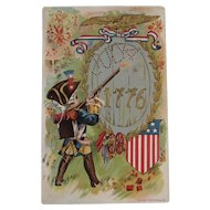 1908 P Sander July 4th 1776 Postcard Young George Washington US Flag Shield Eagle Cannon Rifle Firecrackers for the Fourth Embossed