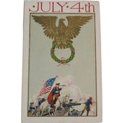 JJ Marks July 4th Postcard George Washington American Eagle Flag Cannons Horses and Revolutionary War Troops for the Fourth