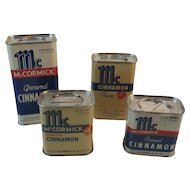 4 McCormick Cinnamon Spice Tins Bee Brand Baltimore MD