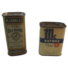 2 Early Bee Brand Nutmeg Spice Tins from McCormick of Baltimore, MD - Red Tag Sale Item