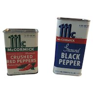 2 McCormick Spice Tins Crushed Red Peppers Italian Style and Ground Black Pepper Vintage Kitchen