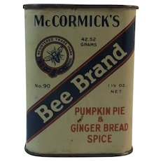 Pumpkin Pie and Ginger Bread Spice Tin Early Bee Brand McCormick Spice Tin Gingerbread