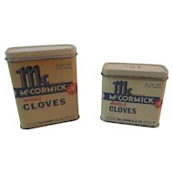 2 Early Bee Brand Cloves Spice Tins from McCormick of Baltimore, MD
