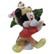 Schmid Mickey Mouse Christmas Ornament Carrying a Tree
