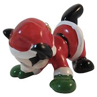Schmid Mickey Mouse Christmas Ornament Frolicking in a Santa Suit