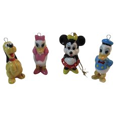 4 Disney Miniature Christmas Ornaments of Mickey Mouse Pluto Daisy and Donald Duck