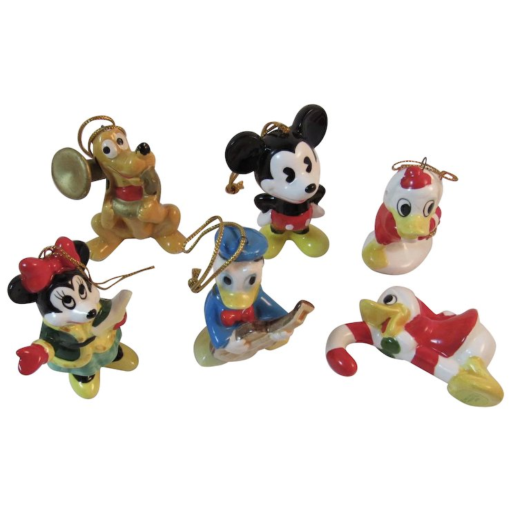 6 disney christmas ornaments minnie and mickey mouse pluto donald duck japan ceramics vintage christmas - Disney Christmas Ornaments