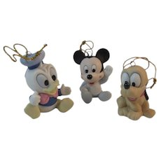 3 Bisque Disney Baby Mickey Mouse Donald Duck and Pluto Christmas Ornaments