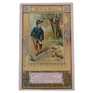 Victorian German Religious Card Boy with Bicycle Words of Comfort 1 Thessalonians Scripture Passage Worte des Trostes