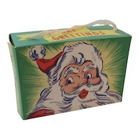 Christmas Candy Box with Santa Made in USA Litho Container