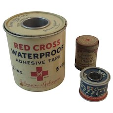 Red Cross Blue Cross and Zonas Adhesive Tape Plaster Tins Johnson & Johnson and Hampton Mfg J&J