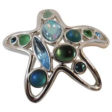 Monet Starfish Pin Silvertone Blue and Green Colored Stones