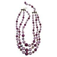 Triple Strand Purple Bead Necklace