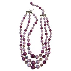 Triple Strand Purple Bead Necklace