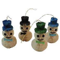 4 Honeycomb Snowman Christmas Ornaments Snowmen Vintage Christmas