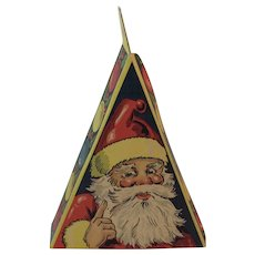 Triangular Christmas Candy Box with Santa and Christmas Tree Vintage Triangle
