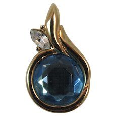 Kenneth Jay Lane Pendant KJL Blue and Gold Tone