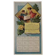 1887 Calendar Trade Card for the Hatfield PA Mirror Newspaper - Red Tag Sale Item