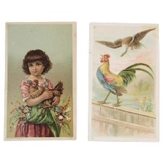 2 Rooster Victorian Trade Cards Girl and Eagle Heebner's Plows and Koch & Person