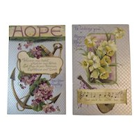 2 German IAP New Year's Postcards with Music Song Flowers Lilies and Violets New Year Years Embossed International Art Publishing Co