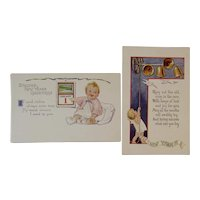 2 Unused Baby New Year Postcards New Year's Embossed