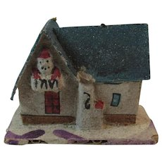 1930s Santa on the Balcony Putz House Ornament with Mica