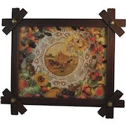 Victorian Walnut Button Frame with Harvest Print Brass Buttons Folk Art Wood