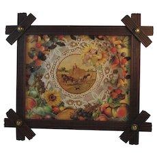 Victorian Walnut Button Frame with Harvest Print Brass Buttons Folk Art Wood